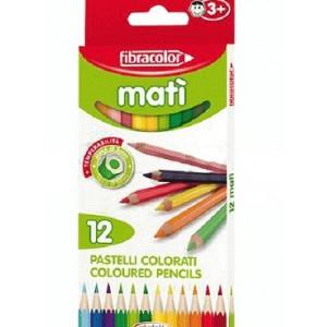 Set creioane colorate Fibracolor Mati, 12 bucati