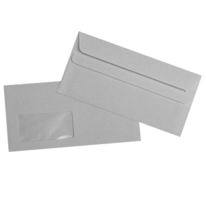 Set plicuri DL 110x220 alb, autoadeziv cu fereastra stanga, 100 bucati
