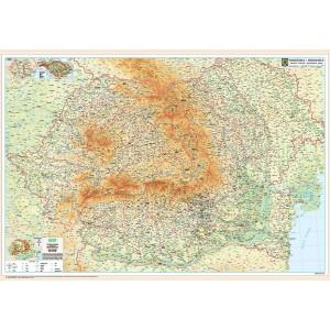 Harta Romania 100 x 140 cm pe panou de pluta