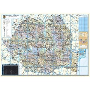 Harta Romania Administrativa si Rutiera 90 x 120 cm, scara 1:700000