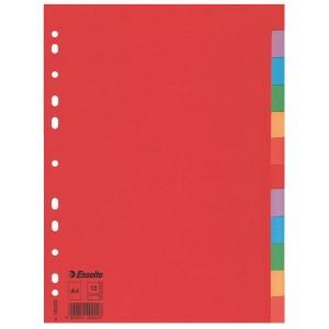 Index carton Esselte, A4, 1-12, diviziuni color