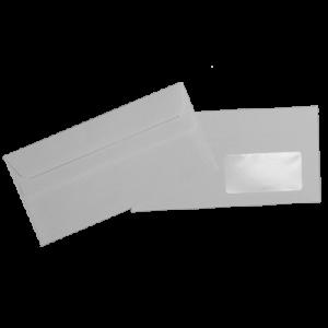 Set plicuri DL 110x220 alb, autoadeziv cu fereastra dreapta, 100 bucati