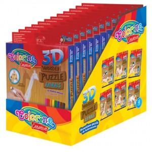 Set puzzle Colorino 3D din lemn