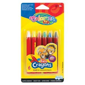 Set creioane Colorino pentru desen pe fata, 6 bucati