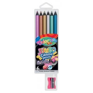 Setul contine: o ascutitoare cadou si 6 creioane Jumbo metalizate, usor de ascutit.