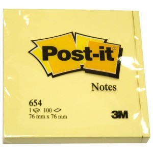 Notite adezive 3M Post-it 654, 76 x 76, galben