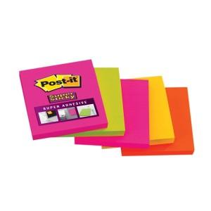 Set notite adezive 3M Post It Super Sticky asortate, neon