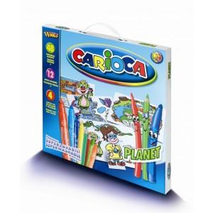 Set de colorat Carioca Planet, 60 piese