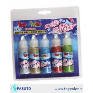 Set lipici Toy Color Magic Glitter Decograf 25ml, 5 bucati