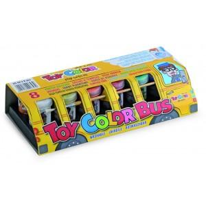 Set tempera superlavabila Toy Color autobuzul culorilor, 8 bucati