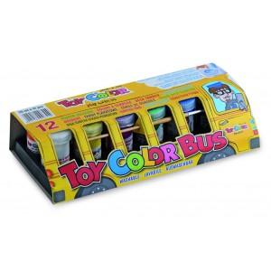 Set tempera superlavabila Toy Color autobuzul culorilor, 12 bucati