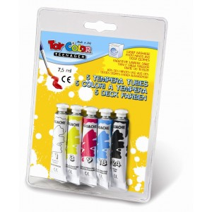 Set tempera la tub Toy Color, 5 culori.
