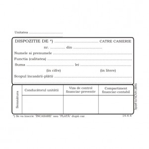 Dispozitie casierie autocopiativa A6