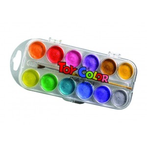 Set acuarele Toy Color perlate, 12 culori