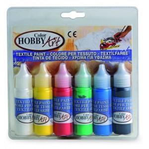 Set tempera Toy Color Hobby Art pentru textile, 6 bucati
