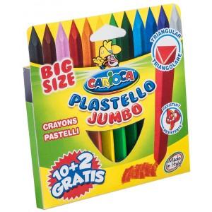 Set creioane colorate triunghiulare Jumbo Carioca, 12 bucati