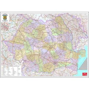 Harta Romania Administrativa 100 x 140 cm, scara 1:570000