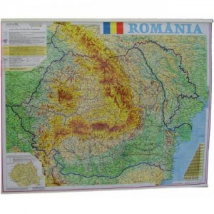 Harta Romania fizico-geografica si administrativa 100x140