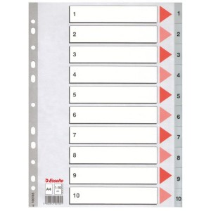 Index plastic Esselte, 1-10