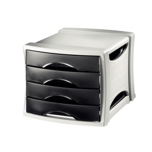 Suport documente cu sertare Intego, negru