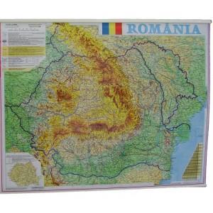 Harta Romania fizico-geografica si administrativa 70x90