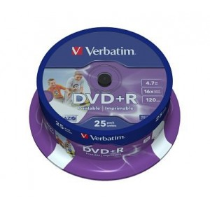 Set DVD+R Verbatim, 4.7 GB, 16x, 25 bucati