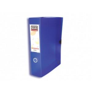 Cutie arhivare Skag 8 cm plastic transparent albastru