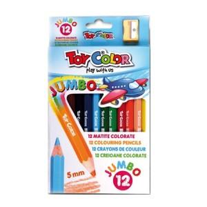 Set creioane Toy Color Jumbo colorate, 12bucati