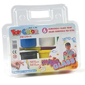 Set vopsea detasabila Toy Color pentru geam, 6 culori