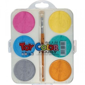 Set acuarele Toy Color perlate 6 culori