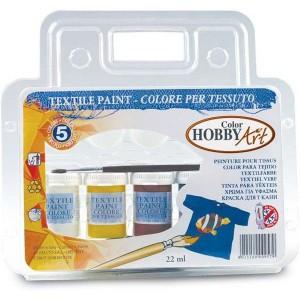 Set tempera Toy Color Hobby Art pentru textile, 5 bucati